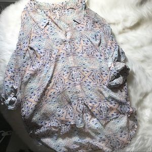 Free people patterned utility blouse